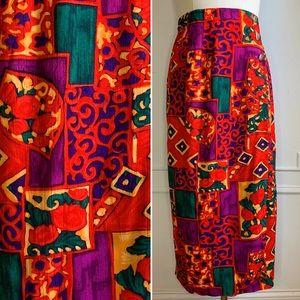 Vintage Red Floral Mid Calf Wrap Skirt